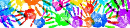 Multiple handprints in different colours