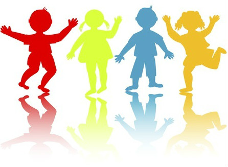 Coloured silhouettes of children dancing